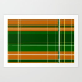 Green and Orange Plaid Art Print