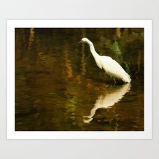 White Heron on Mill pond Art Print