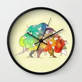 Opossum Rainbow Babies Wall Clock