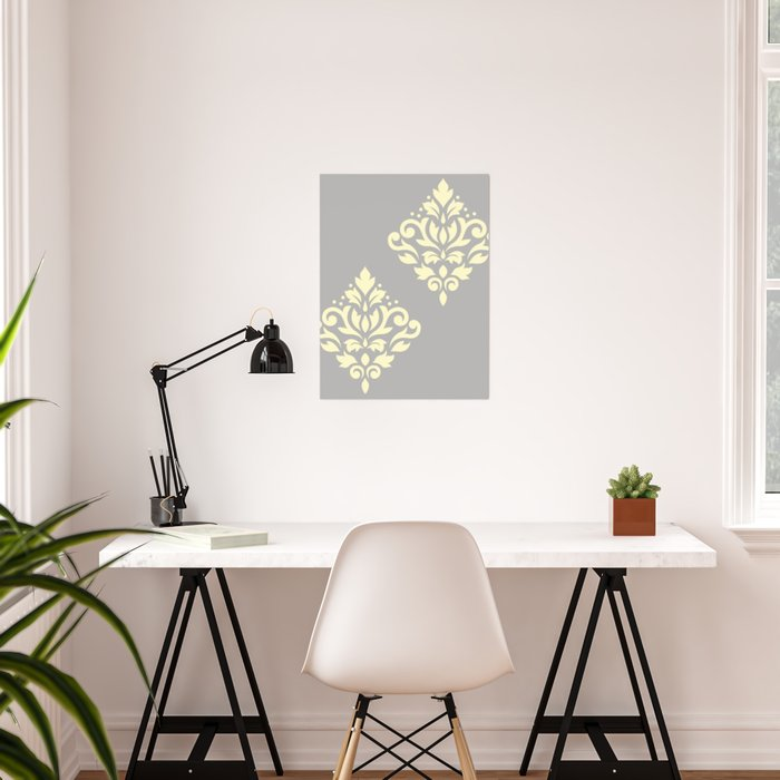 Scroll Damask Art I Yellow on Grey Poster