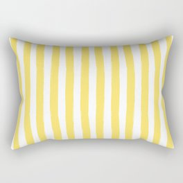 Yellow and White Cabana Stripes Palm Beach Preppy Rectangular Pillow