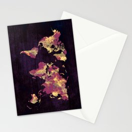 world map 86 red yellow Stationery Cards