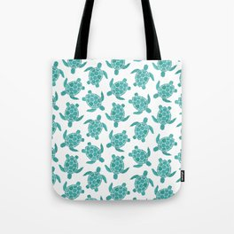 Save The Turtles in Teal Tote Bag