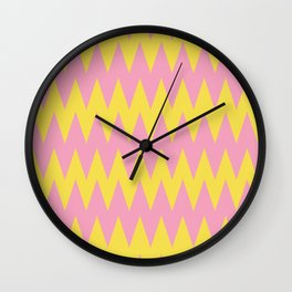 Zigzag Line Pattern Color of the Year 2021 Illuminating Yellow and Prism Pink 14-2311 Wall Clock