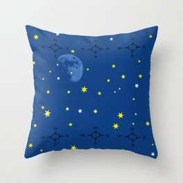 directional compass in space Throw Pillow