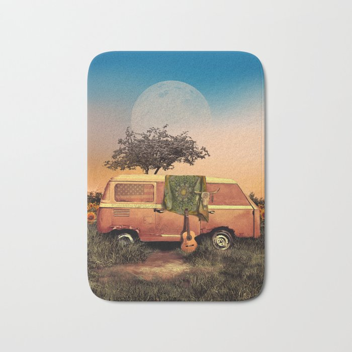 summer sunset landscape with skull and guitar Bath Mat