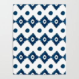 Abstract navy blue watercolor geometrical pattern Poster
