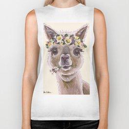 Holly The Alpaca, Alpaca Art Biker Tank
