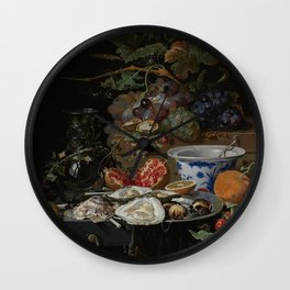 Abraham Mignon - Still Life With Fruit And Oysters  1679 Wall Clock