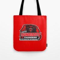 thundercats Tote Bags featuring  thundera university by Buby87