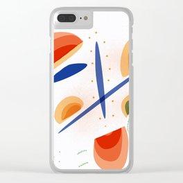 White Gaps   Happy modern art Clear iPhone Case