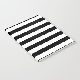 Midnight Black and White Stripes Notebook