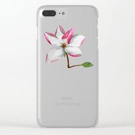 Watercolour Magnolia Clear iPhone Case