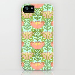 King Protea Flower Pattern - Turquoise iPhone Case