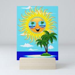 Happy Summer Sun and Tropical Island Mini Art Print