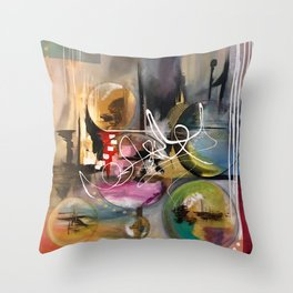 Abstract landscape color bubbles energy memories earth  Throw Pillow