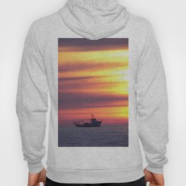 Fishing Boat At Sunrise Hoody