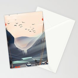 Cartoon landscape in the evening. Stationery Cards