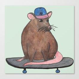 Skateboard Rat I Canvas Print