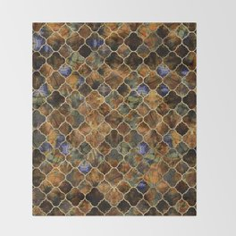 Quatrefoil Moroccan Pattern Brown Labradorite Throw Blanket