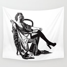 Retro Woman Wearing Vintage Lingerie and Drinking from Flask Wall Tapestry