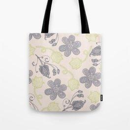Modern vintage mint green ivory gray floral Tote Bag