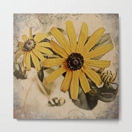 Faux Vintage Flowers  Metal Print