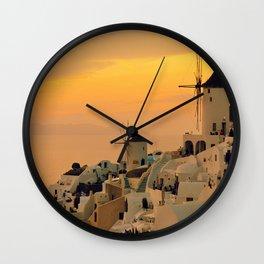 Sunset in Oia, Santorini Wall Clock