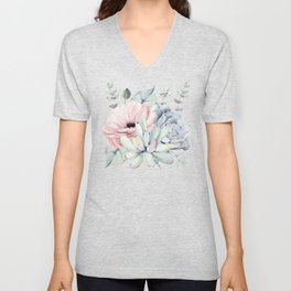 Pretty Succulents on Marble Watercolor by Nature Magick Unisex V-Neck