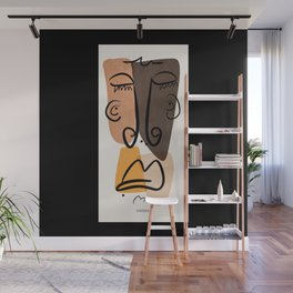Sad Snob, Abstract Home Decor, Line Face, Portrait, Picasso Inspired Wall Mural