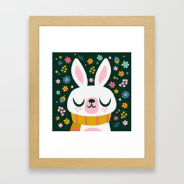 Bunny with a Scarf and Flowers / Cute Animal Framed Art Print