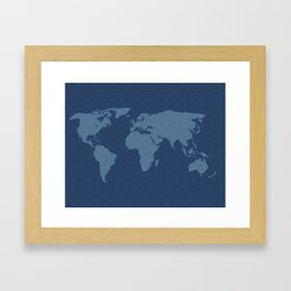 Denim Map Framed Art Print