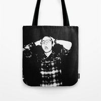 zombies Tote Bags featuring Zombies by Late Nite Draw