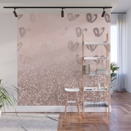Rose Gold Sparkles on Pretty Blush Pink with Hearts Wall Mural