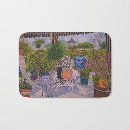 Garden Deck With Blue Barbecue Bath Mat