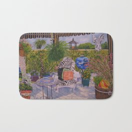 Garden Deck With Blue Barbecue Bath Mat