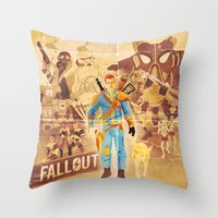 fallout Throw Pillows featuring FALLOUT FAN ART by Salty!