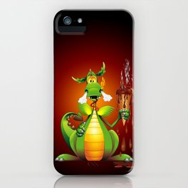 Fun Dragon Cartoon with melted Ice Cream iPhone Case