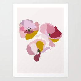 Pink Abstract Poppies by The Botanical Study Art Print