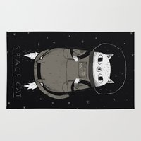 cat Area & Throw Rugs featuring space cat by Louis Roskosch