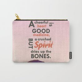 A Cheerful Heart Typographic Art Carry-All Pouch