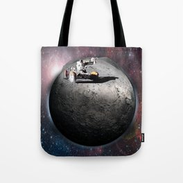 Moon race to the dark side of the moon. Tote Bag