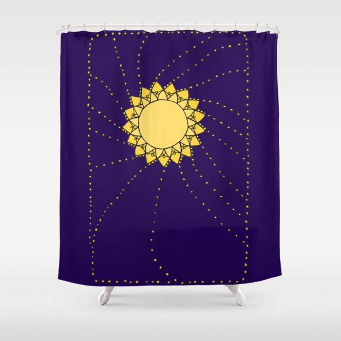 Celestial Swirling Sun Boho Mandala Hand-drawn Illustration Shower Curtain