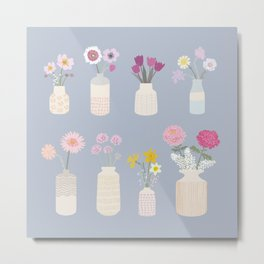 Flowers - blue Metal Print