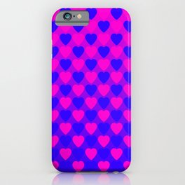 Zigzag of iridescent pink hearts staggered on a blue background. iPhone Case
