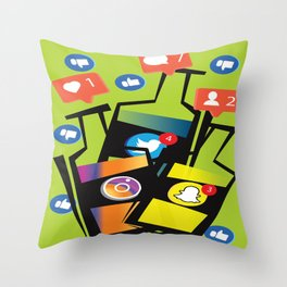 Social Media Addiction Throw Pillow