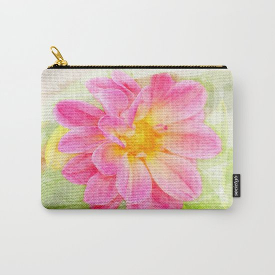 Pink Pastel Watercolor Flower Carry-All Pouch