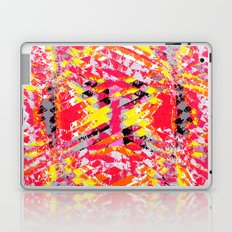 psychedelic geometric abstract pattern in red yellow black Laptop & iPad Skin