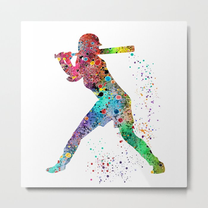 Baseball Softball Player Sports Art Print Watercolor Print Girl's softball Metal Print