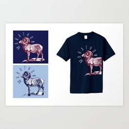 RAM TEE DARK RED Art Print